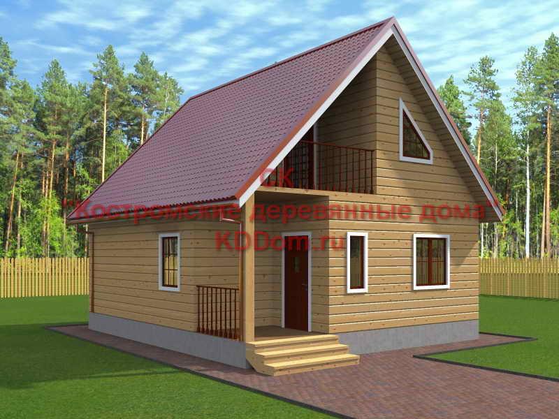 Дом из бруса 7х8 с мансардой - проект, цена  Дом из Бруса 7х8