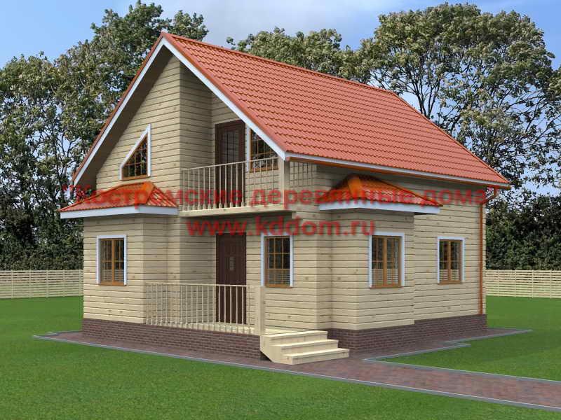 Брусовой дом 7х8 с мансардой - фото и цена