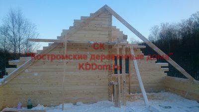 19. Подготовка к опиливанию рубленного фронтона.